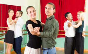 adults people having valse class in studio